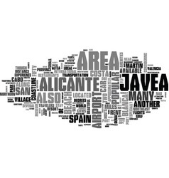 what to do while in javea spain text word cloud vector image