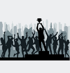 winner champion silhouette with winner s cup vector image