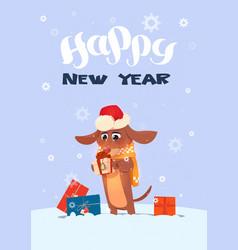 winter holidays greeting card dog in santa hat vector image