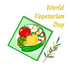 world vegetarian day vegetable picnic vector image