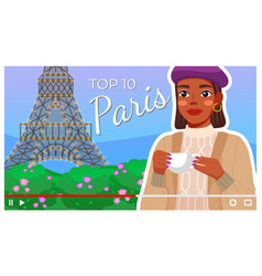 young girl with top 10 list paris frenchwoman vector image