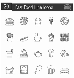 Fast Food Line Icons vector image