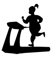 girl silhouette running on a treadmill vector image vector image