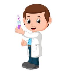 scientist or professor holding flask vector image