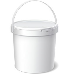 Small White plastic bucket Product Packaging vector image vector image