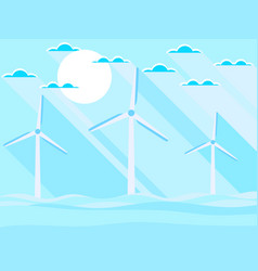 wind turbines in the sea landscape in a flat vector image