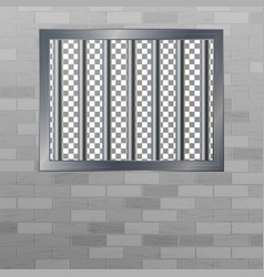 window in pokey with bars brick wall jail vector image