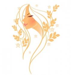 women profile leaf floral vector image vector image
