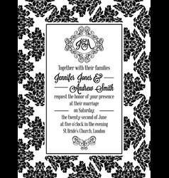 Damask victorian brocade pattern invitation vector