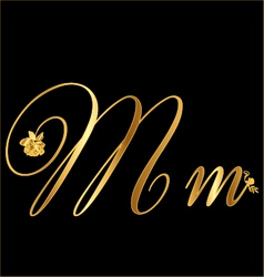 Gold letter m with roses vector