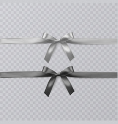 set of realistic black and wight ribbon and vector image