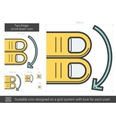 Two-finger scroll down line icon vector image vector image