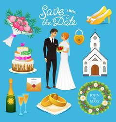 bride and groom wedding ceremony set newlyweds vector image