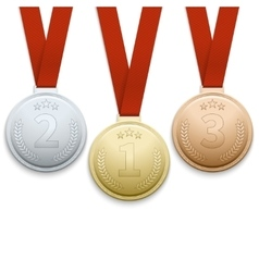 Gold silver and bronze medals set vector image