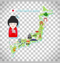 japan travel map on transparent background vector image