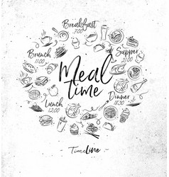 Monogram meal time vector