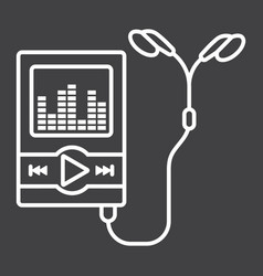 Music player line icon mp and device vector