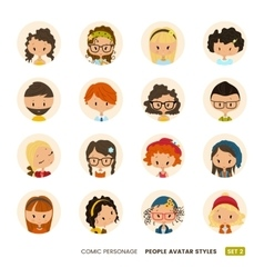 People avatars collection Comic personage Girls vector image vector image