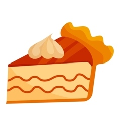 Piece of cake with cream icon cartoon style vector image vector image