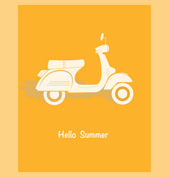 retro poster design with vintage scooter vector image vector image