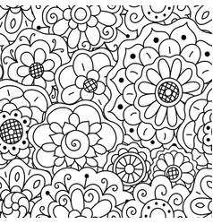 seamless pattern hand drawn floral doodle mandala vector image vector image