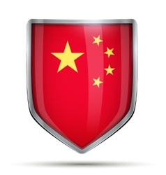 Shield with flag China vector image