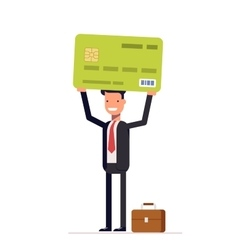 Businessman or manager of bank holding credit card vector image vector image