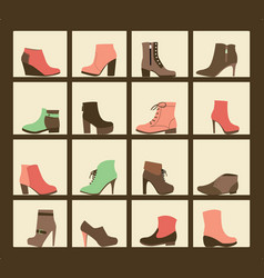 Collection of shoes on shelves of shop vector