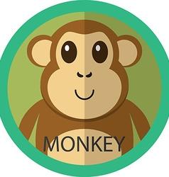 Cute brown monkey cartoon flat icon avatar round vector image