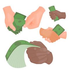 human hands holding money vector image