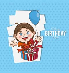 kid happy birthday card cartoon vector image