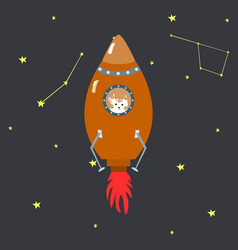 orange space shuttle with cute cartoon style vector image