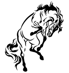rearing horse tattoo vector image vector image