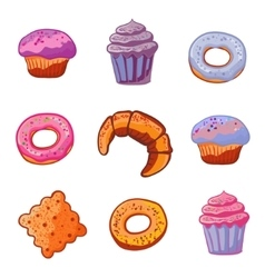 Set of baking products Dessert icons flat style vector image