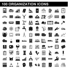 100 organization icons set simple style vector