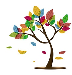 A beautiful tree with colorful leafs in a white vector