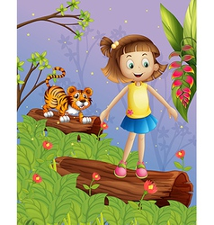 A girl and a tiger in the forest vector image