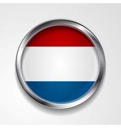Abstract button with metallic frame Netherlands vector image