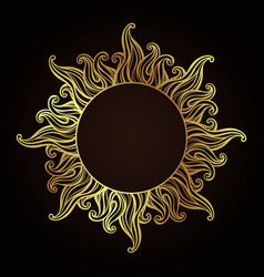 Antique gold etching style frame in a shape of sun vector