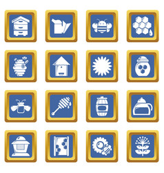 apiary honey icons set blue square vector image