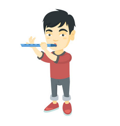 Asian little boy playing the flute vector