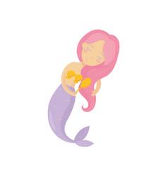beautiful mermaid combing her long pink hair vector image