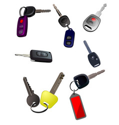Big collection of ignition car keys with remote vector