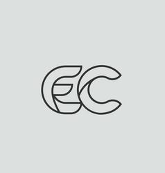 Black and white alphabet letter ec e c logo vector