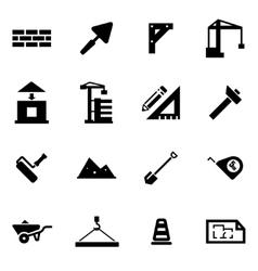 black construction icon set vector image