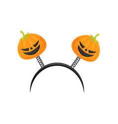 Black hair hoop with halloween pumpkins on spiral vector