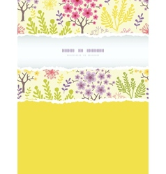 Blossoming trees vertical torn frame seamless vector