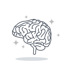 Brain logo silhouette design template line art vector