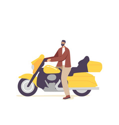 brutal biker young male character riding custom vector image