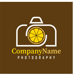 camera lemon logo design template for your company vector image